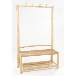 Solid wood teak wide coat rack with woven seat and rack low shelf made from teak branches and left unfinished