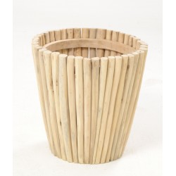 Solid wood round planter made from teak branches and left unfinished