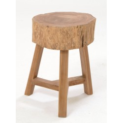 Solid wood teak log stool with straight legs and angled stretchers