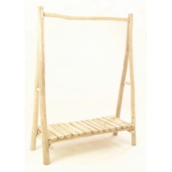 Solid wood open wardrobe or coat rack made from teak branches with a low shelf and finished in a plain wood finish
