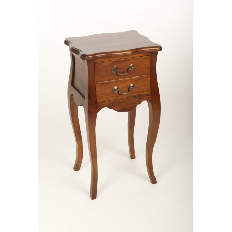 Solid Mahogany French Side Table with two drawers and cabriole legs finished with a polished finish