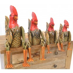 Set of 4 chickens with red combs and outstanding tail feathers to sit on a shelf with jointed legs hanging over the edge