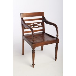 Solid Mahogany arm chair or carver chair with turned legs carved back and slatted seat in a polished finish