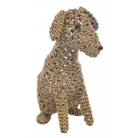 Large dog decorative ornament made from seagrass on a metal frame