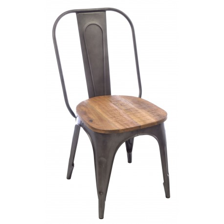 Industrial style metal and wood dining chair with solid wood seat and pressed metal frame