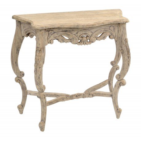 Solid wood vintage console table with carved legs and skirt in a wahsed finish