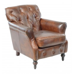 Vintage Leather Button Back Leather Chair with solid wood frame and legs and dark leather finish