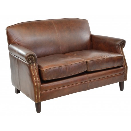 Vintage Leather 2 Seat sofa in dark leather finish, solid wood legs and frame and button stud details