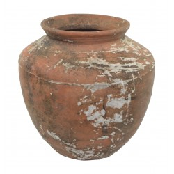 Medium ceramic pot with a rustic weathered finish and wide amphora shape