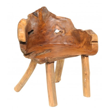 Solid wood chair made from teak roots to give each chair its own individual shape and style
