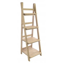 Solid wood shelf unit or bookcase in a step ladder design with a stripped back wood finish
