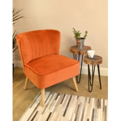 Pumpkin coloured velvet covered accent chair or bedroom chair with wooden legs