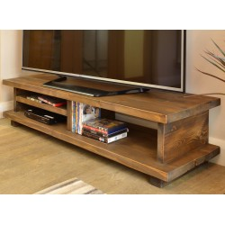 Dark Wood Low TV Unit Wooden Leg