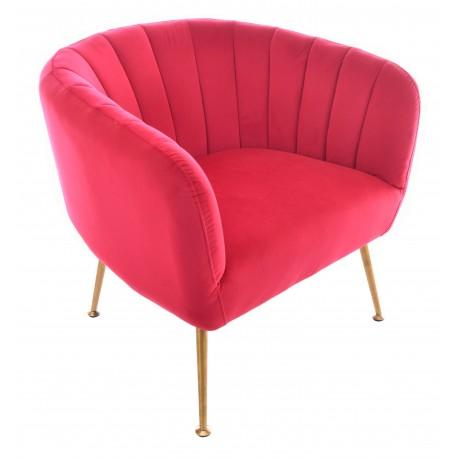 Velvet tub chair in Azalea with brass coloured tapered legs