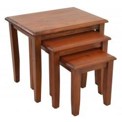 Mahogany Nest of Tables with Plain Leg