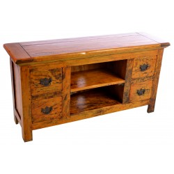 Solid Mango Wood TV unit with a rustic finish dvd shelf and four drawers