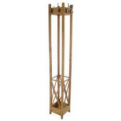 Solid mango wood coat rack with 8 coat hooks and a umbrella stand in a light wood finish