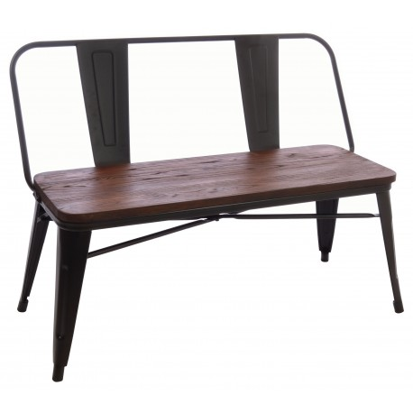 Steel and Elm loveseat with wide slat back and solid dark wood seat