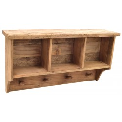 Solid wood three cube wall shelf with four hook coat rack under made from reclaimed pine with aged distressing and worm holes
