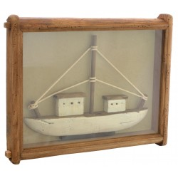 Fishing boat in a reclaimed pine wooden frame with a glass cover