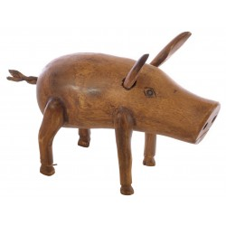 Small Wooden Pig ornament made from bamboo and finished with a simple wood finish