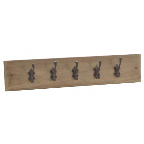 Five hook coat rack on a mahogany backboard with a stripped back vintage finish