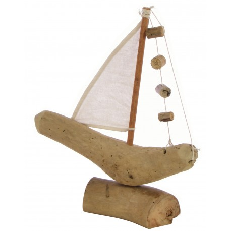 Reclaimed wood small sail boat ornament with a single sail