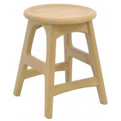 Solid wood stool with a plain wood finish retro rounded cornered legs