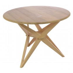 Solid wood round dining table with intricate star design pedestal and a plain wood finish