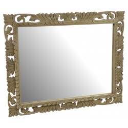 Ornately carved solid wood framed mirror with a stripped back old world finish