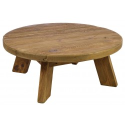 Solid wood round four legged coffee table made from reclaimed pine with aged distressing and worm holes