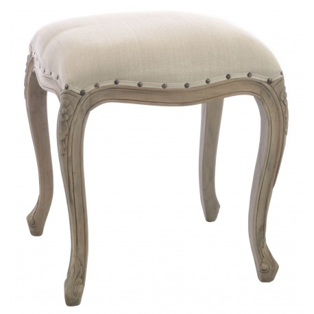 Solid wood mahogany stool with carved cabriole legs upholstered top and a stripped back vintage finish