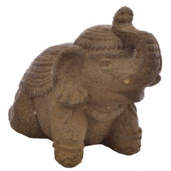 Small Dark Stone Sitting Elephant sitting on haunches with raised trunk and decorated back