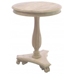 Solid wood round occasional table with a fluted stem, scroll foot base and distressed stripped back finish