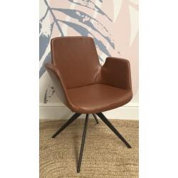 Industrial Metal Tan Faux Leather Armchair