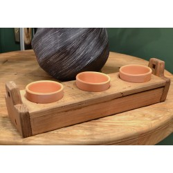 Reclaimed pine 3 small flower pot holder with flower pots