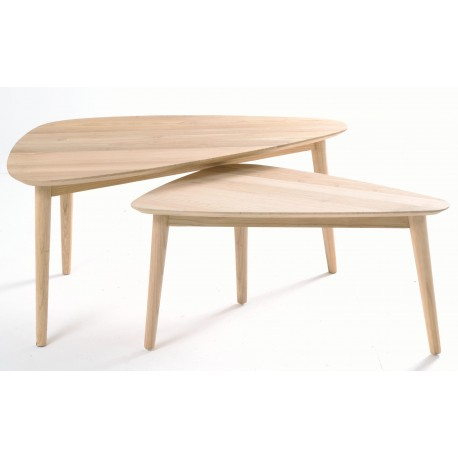 Solid wood nest of tables with 2 tables with tear drop shaped tops and simple round legs finished in a plain wood finish