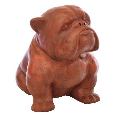 Terracotta sitting bulldog in a deep terracotta colour