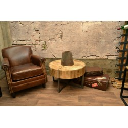 Industrial style round coffee table with a deep table top with metal cross style and metal cross base