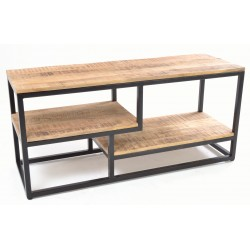 Steel open tv unit with solid mango wood shelves and top with rustic finish