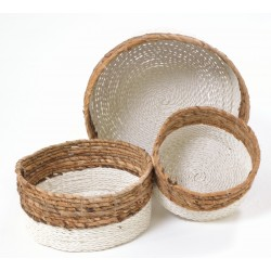 Set of 3 hand woven baskets with white base and natural tops in three sizes
