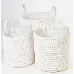 Set of 3 hand woven stackable cotton baskets with a rope style finish