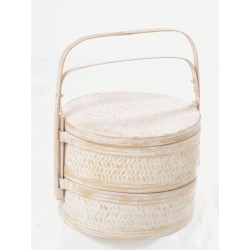 White hand made tiffin or picnic basket set with tall carry handle