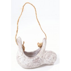 Hand made hanging terracotta planter in the shape of a sloth with ditressed white finish