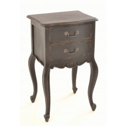 Solid wood two drawer side table or bedside with swan handles cabriole legs and black painted finish