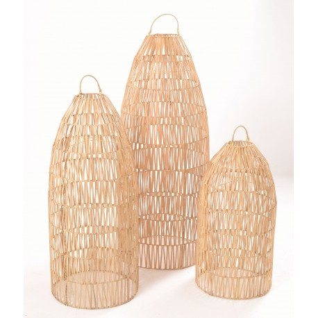 Tall conical shpaed lightshades made from ratan and left with the natural colourning