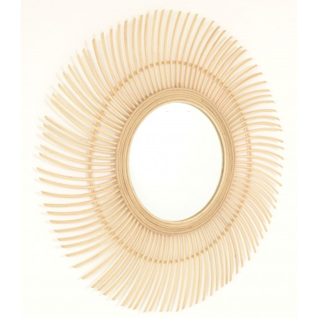 Round mirror with a sunburst frame made from rattan in a natural finish